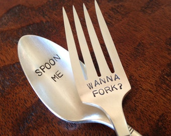 Spoon Me,  Wanna Fork    vintage silverware hand stamped spoon and fork set