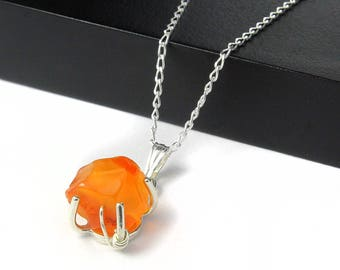 Carnelian Necklace Sterling Silver - Irregular Shaped Rough Raw Carnelian Stone - Rough Gemstone Jewelry