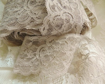 French Lace, Vintage Lace, Soft Taupe Lace, Vintage French Lace Trim, Lingerie Lace, Bridal Lace
