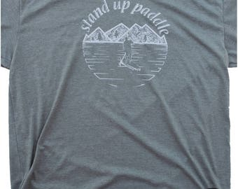 Men's Paddle board shirt, stand up paddle board clothing, paddle board graphic screen print on silky soft apparel. Men's SUP shirt, SUP Tee!
