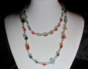 Cane Glass Bead Necklace.