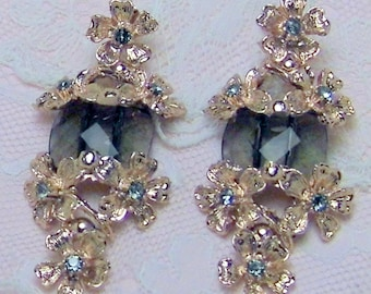 Nineteenth-century style earrings, smoky quartz, Swarovski, 14 KT