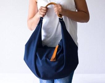 SALES Large hobo bag blue cotton and brown leather, shoulder purse carryall bag oversized purse everyday bag-Kallia bag