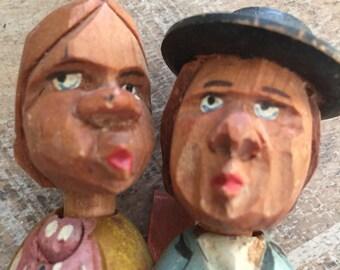 True Vintage Carved Wood Man and Women Pivitol Movement Wine Cork Figurine #Winegift  #flashsale