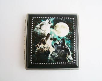 Wolves Moon Cigarette Case, Cigarette box, Metal cigarette case, Cigarette dispenser, Case 20 cigarettes, 84 mm  tobacco  smoking