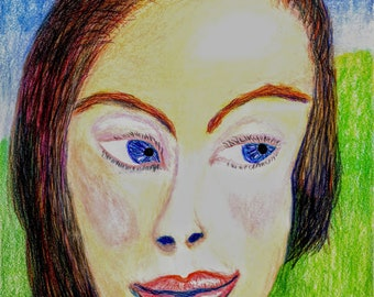 Princess Prismacolor ; color pencil drawing of beautiful face drawn by homeless senior Seattle artist. Original one of a kind and unique.
