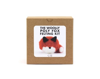 DIY Felted Fox Kit, Woolly Poly Fox Felting Kit, DIY Felting Kit