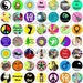 Far Out One Inch Circles Digital Collage Sheet 63 Different Bottle Cap Images Scrapbooking