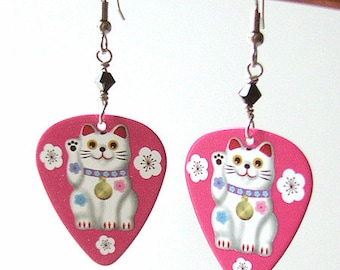 Maneki Neko Guitar Pick Earrings kitty lucky fortune cat Kawaii cute fun funky stocking stuffers party favors shower gifts waving