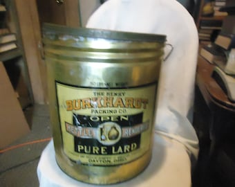 Vintage The Henry Burkhardt Packing Co. Pure Lard Tin 50 lb Tin, collectable
