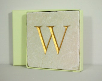 Hand Carved Gold Letter 'W' Stone Wall Tile.  Personalised Gift.  Letter carving.  Wall Hanging. Decorative Arts.