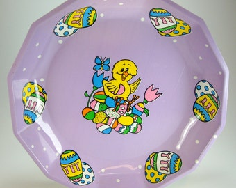 Easter Plastic Cookie Tray, Easter, Yellow Chick,  Purple, Pink, Holiday Home Decor