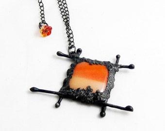 Fused Glass Pendant | Temple Pendant | Orange | Eclectic | OOAK