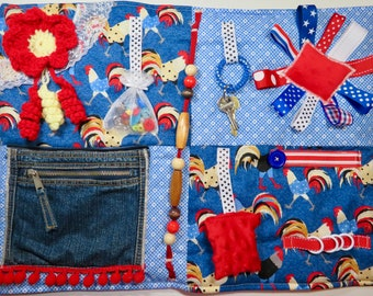 Rooster Love Fidget Blanket, Quilt for Dementia, Alzheimer's, Stroke Rehab, Autism