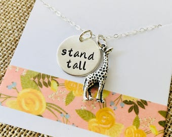 Giraffe Necklace, Stand Tall Necklace, Sterling Silver Giraffe Necklace, Giraffe Charm Necklace, Giraffe Jewelry, Inspirational Jewelry