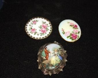 Antique Hand Painted Porcelain Brooches
