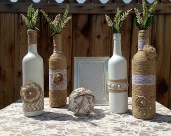 Wedding Centerpieces. Vases. Shabby Chic Wedding. Rustic Decor. Table number vase. Painted/Twine wrapped Wine Bottles. Wedding Decor.