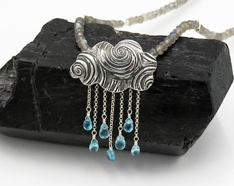"Necklace ""HAPPY RAIN"" - fine silver, sterling silver, Apatite, Labradorite - one of a kind!"