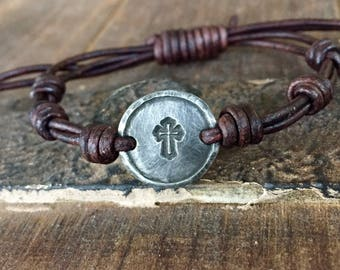 Silver Cross Leather Bracelet, Hand Stamped Pewter, Christian Gift for Her, Girlfriend Gift, personalized,