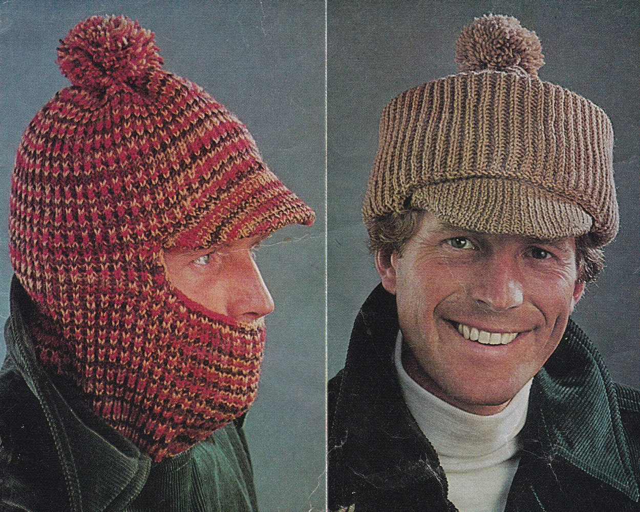 Vintage knitting pattern men\'s hat hats balaclava peaked cap pdf ...
