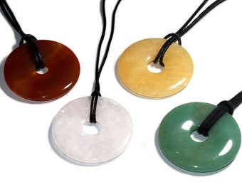 Carnelian, rose quartz, orange calcite, aventurine (donut) on cotton cord (necklace)