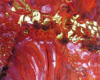 MAGNIFICENT RUBY; Big abstract painting with deep texture details, used Gold Leaf 24K