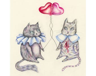Valentine Cats (Print)