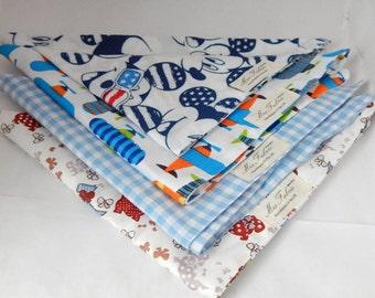 Boy's bandana, neckerchief, printed cotton scarfs for children, mickey, planes, dogs, blue gingham