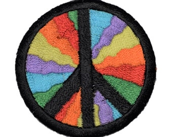 Peace Sign Patch - World Peace, Hippy Colors (Iron on)