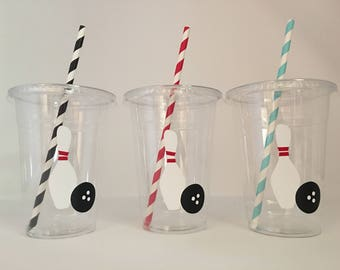 Bowling party cups, Bowling Birthday Party Cups, Bowling League Party, Bowling Party Favors