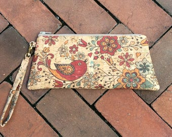 Cork Fabric Wristlet Clutch with Bird Print