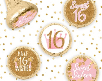 Pink and Gold Sweet Sixteen Stickers -  Candy Stickers for Hershey Kisses - Pink 16th Birthday Party Favors - 324 Sicker Count