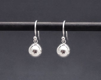 Tiny Silver Ball Earrings Sterling Silver, 8mm Ball Bead Dangles, Dainty Silver Earrings