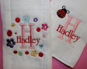 Personalized Embroidered Baby Burp Cloth 2 set Girl