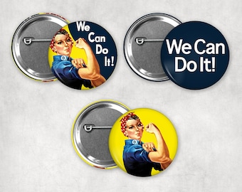 1.25in Rosie The Riveter Pinback Buttons