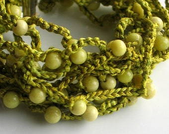 Beaded Silk Cuff, Chartreuse Peridot Jasper Stones, Bright Beaded Bracelet, Soft Crocheted Beaded Silk Cuff, Original Artisan Design