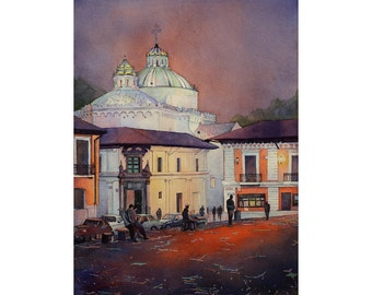 Church & colonial buildings in downtown Quito, Ecuador at sunset Quito Ecuador watercolor painting Church watercolor fine art print giclee