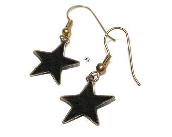 Black stars, enamel earrings, womans, teenagers, boho, rocker, astrology, space, modern, gothic, star earrings, celestial, - Free shipping!