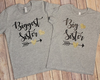Biggest Sister Shirt, Big Sister shirt, Biggest Sister Big Sister Shirt Set. Sibling Shirt, Pregnancy Announcement Shirts, Sister Shirts