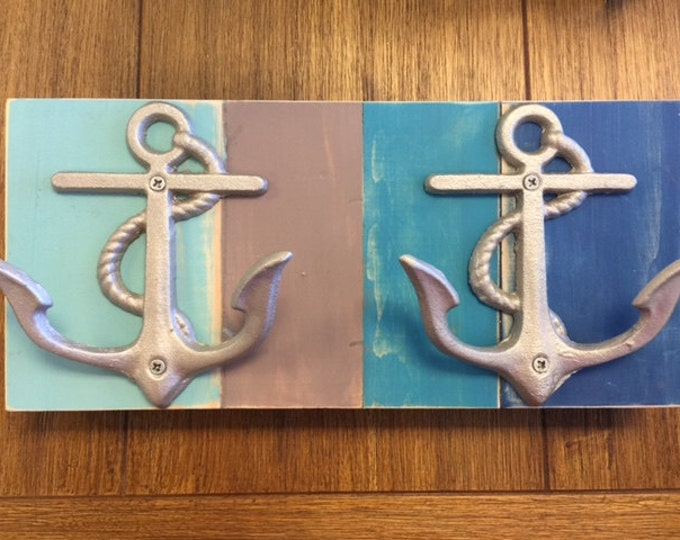 CUSTOM striped towel rack Beach House Dreams anchor hooks boat cabin lake cottage outdoor shower pool hottub towels jewelry holder nautical