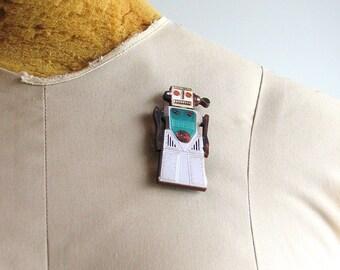 Chief Robotman 1960's japanese wind-up robot pin
