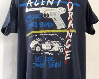 Vtg 80s Agent Orange T-Shirt Black XL Screen Stars Classic Punk Rock Band