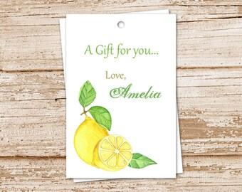 personalized lemon tags . lemon favor tags, gift tags . PRINTABLE . watercolor lemons . fruit tags . birthday gift tags . YOU PRINT