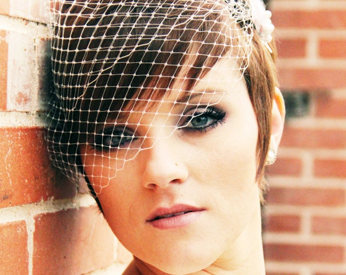 FREE USA SHIPPNIG, Wedding Veil, Bandeau Birdcage Veil, Russian Veil, Bird Cage Veil - Made to Order - Many Colors Available, Quick Shipper