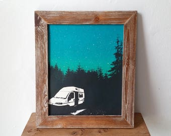 Campervan Motorhome Screen Print Adventure Outdoors Art Poster by Or8 Design