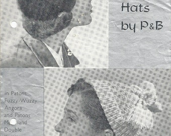 P&B 964 Vintage Knitting Pattern Original Two Cold Weather Hat Patterns - Angora and Double Knit