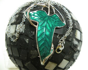 Beautiful Fantasy Symbol leaf enamel silver