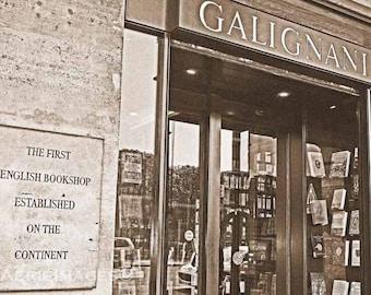 Paris Bookstore Photo, Galignani First English Books, Sepia 5x7