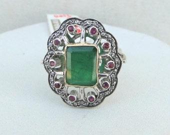 Victorian Diamond Emerald & Ruby 14 K Gold Silver Ring