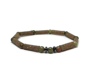 Hazelwood bracelet with green unakite